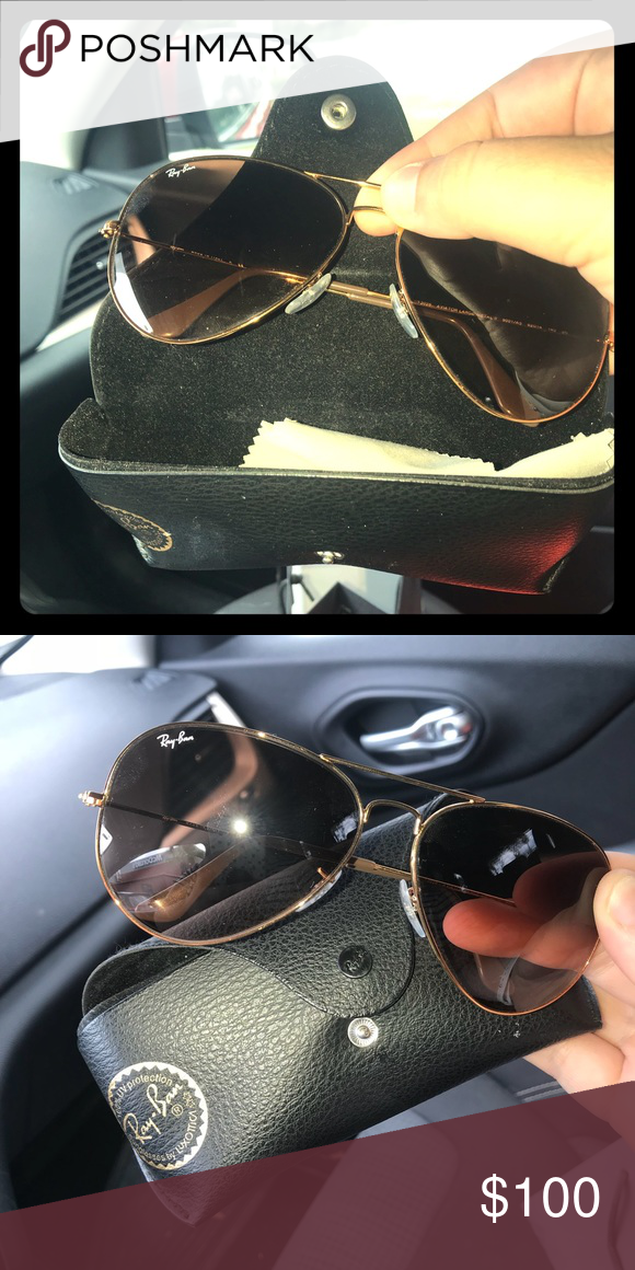 Ray Ban 62mm aviator Gold Brown Barely worn no scratches!! Ray-Ban  Accessories Sunglasses 047a3d3734d6