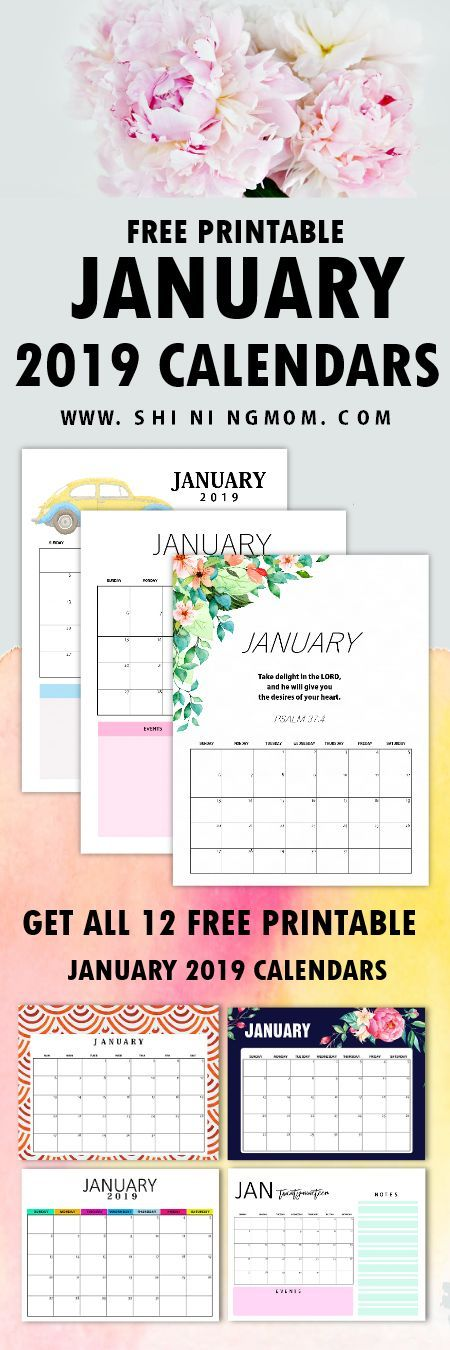 Free Printable January 2019 Calendar 12 Awesome Designs! Free
