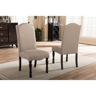 Shop For Baxton Studio Zachary Chic French Vintage Oak Brown Beige Brilliant Upholstered Dining Room Chairs Design Ideas
