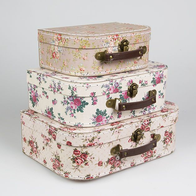 Retro Vintage Rose Floral Mini Luggage Suitcase Storage Cases Boxes Wedding  Gift