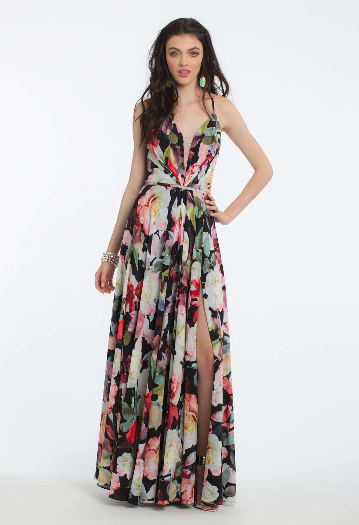Get tropical vibes the moment you slip on this exotic evening gown ...