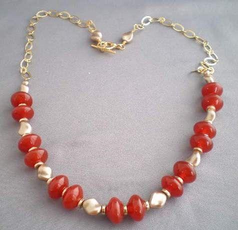 Carnelian Rondelle with Bronze Swarovski Pearl Twists  Chain Necklace