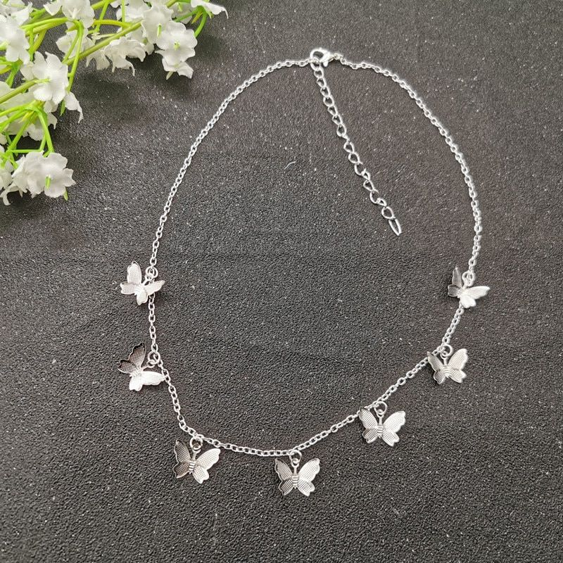 Asymmetric silver necklace,Butterfly silver pendant,silver jewelry,Silver chain necklace,Animal necklace