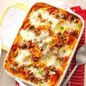 Baked Spaghetti Favorite Baked Spaghetti Recipe from Taste of Home -- shared by Louise Miller of Westminster, MarylandFavorite Baked Spaghetti Recipe from Taste of Home -- shared by Louise Miller of Westminster, Maryland