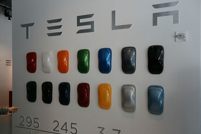 Wall With Tesla Car Colors Decisions Green Or Blue Silvery