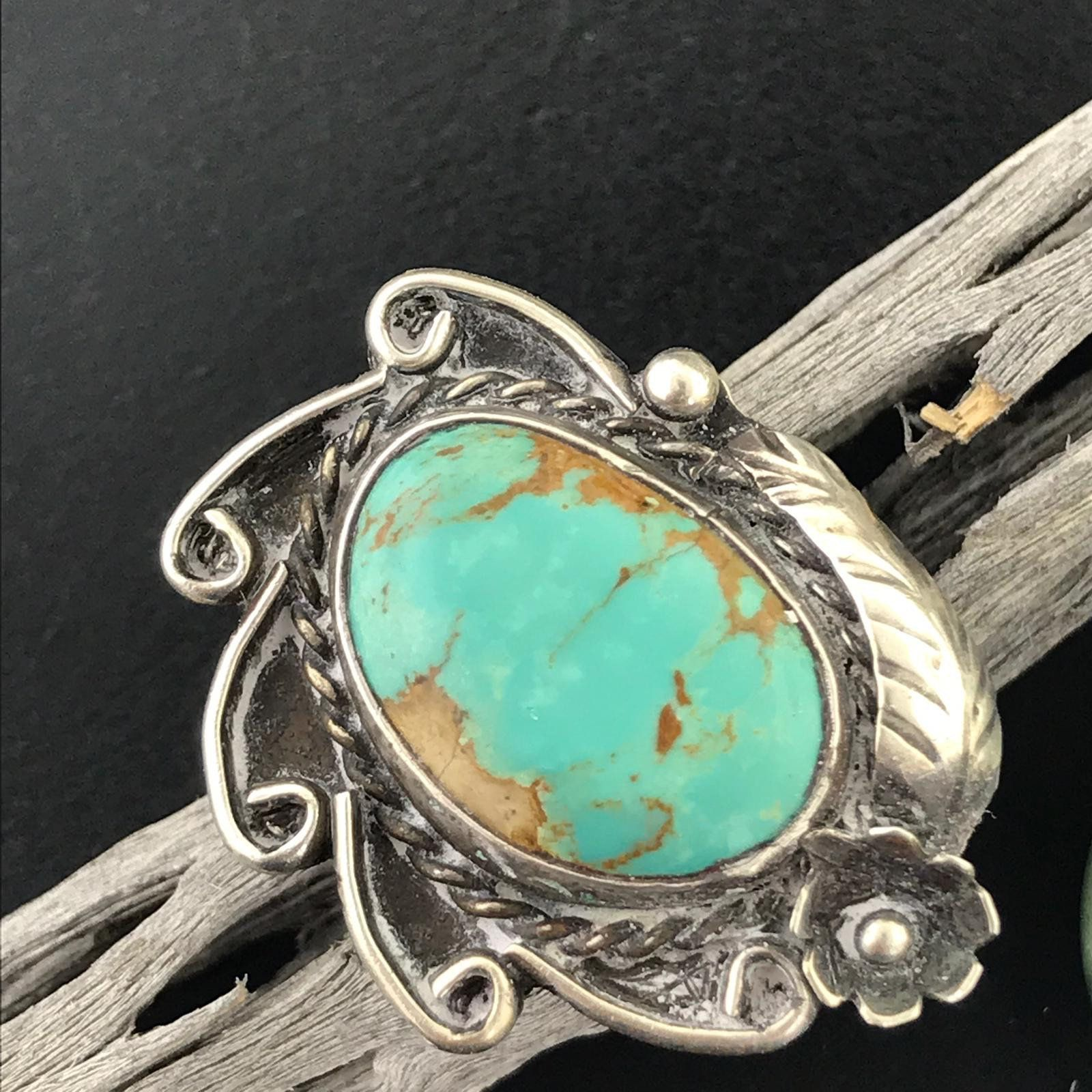 Turquoise Ladies Ring Silver Design Any Size Navajo Jewelry