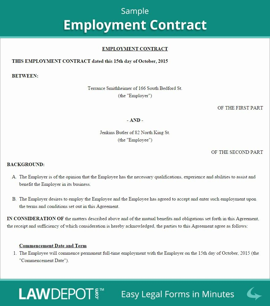 Employment contract template free download lovely contract