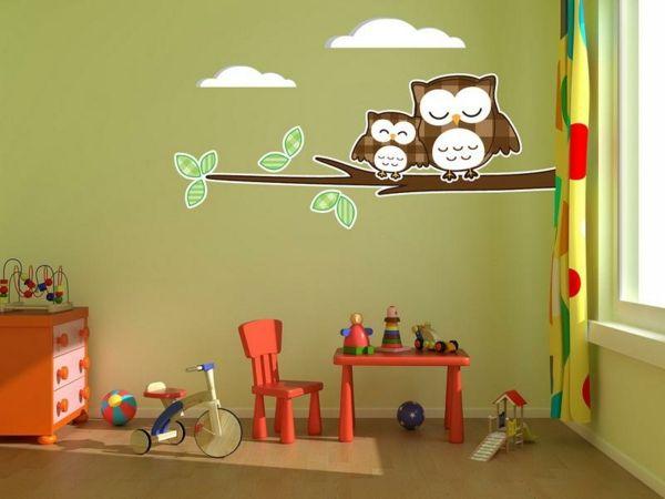wände dekorieren wandtattoos für kinderzimmer eulen