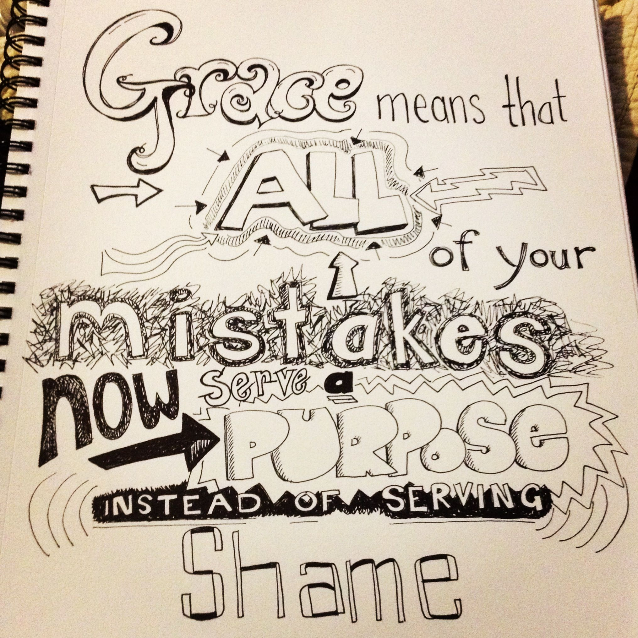 God s grace is for everyone because he loves us all Freehand drawn quote art lettering
