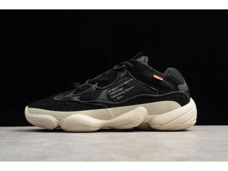 Virgil Abloh Off White X Kanye West X Adidas Yeezy 500 Black White For Sapatos De Couro Feminino Yeezy Tendencias De Tenis