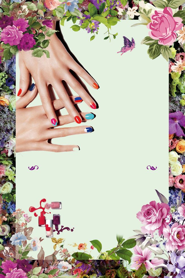 Beautiful Flower Korean Style Embroidery Nail Beauty Advertising Poster Background Material