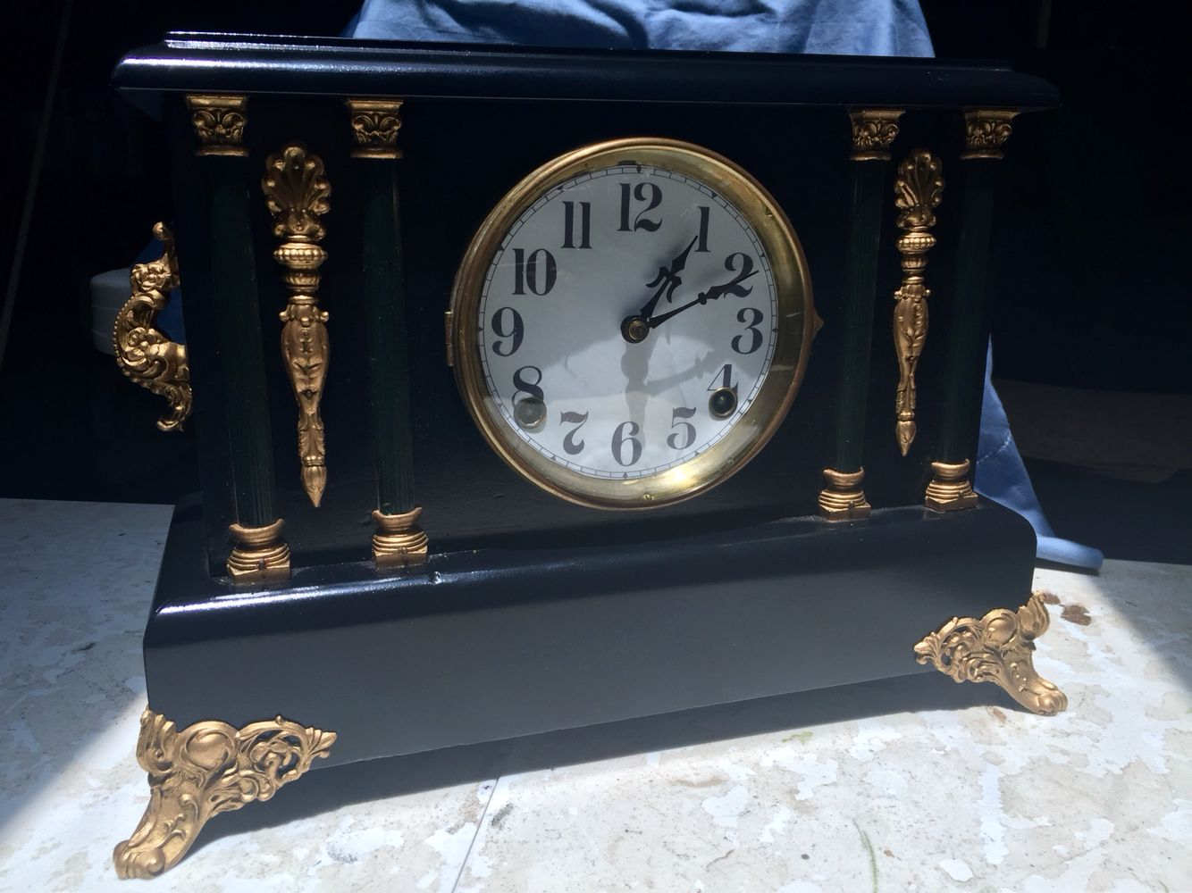 Antique Sessions Mantle Clock Ornate Guilded Ornamentation Clock Mantle Clock Antique Clocks