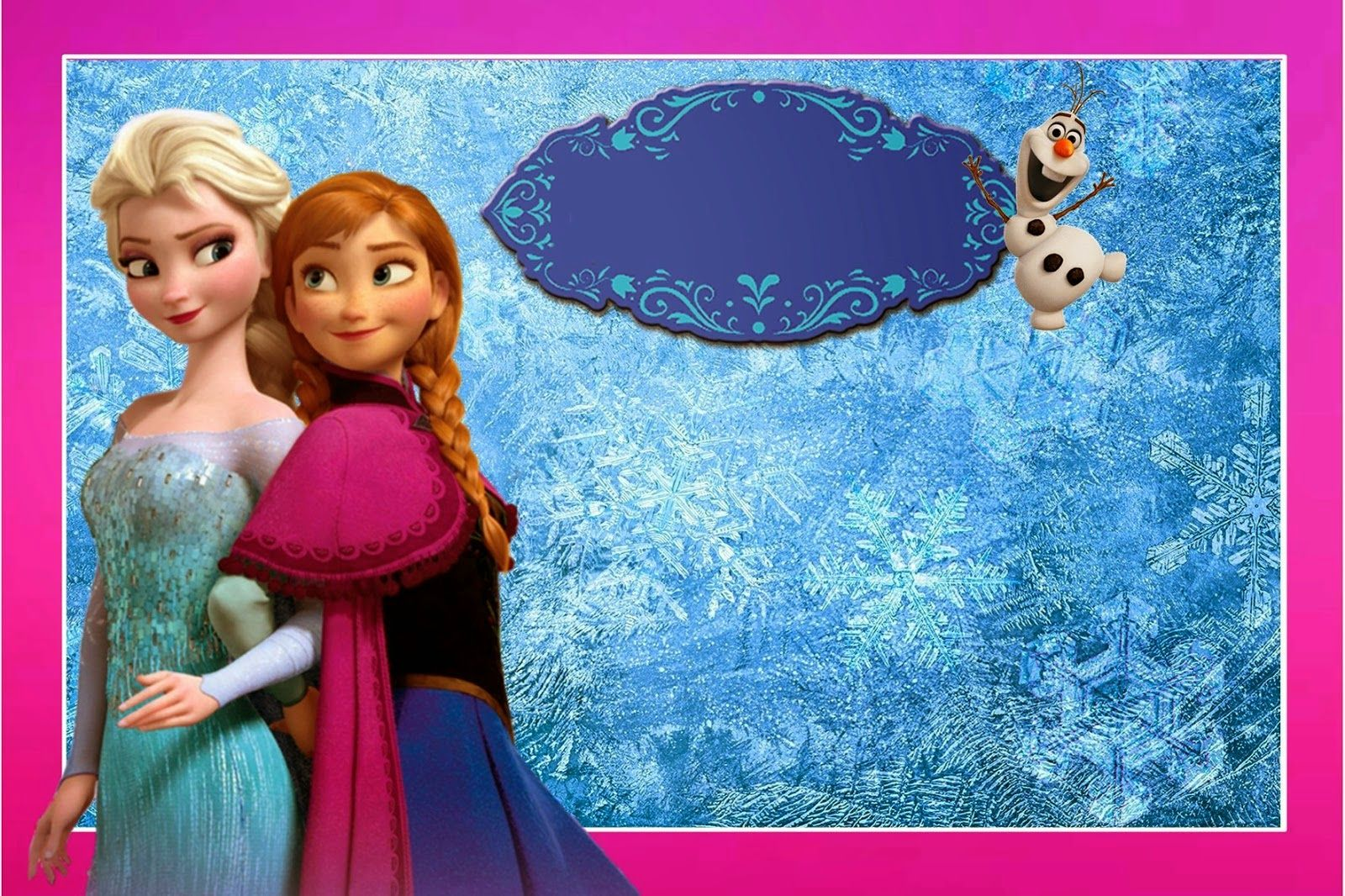 Frozen Free Printable Kit With Fucsia Border