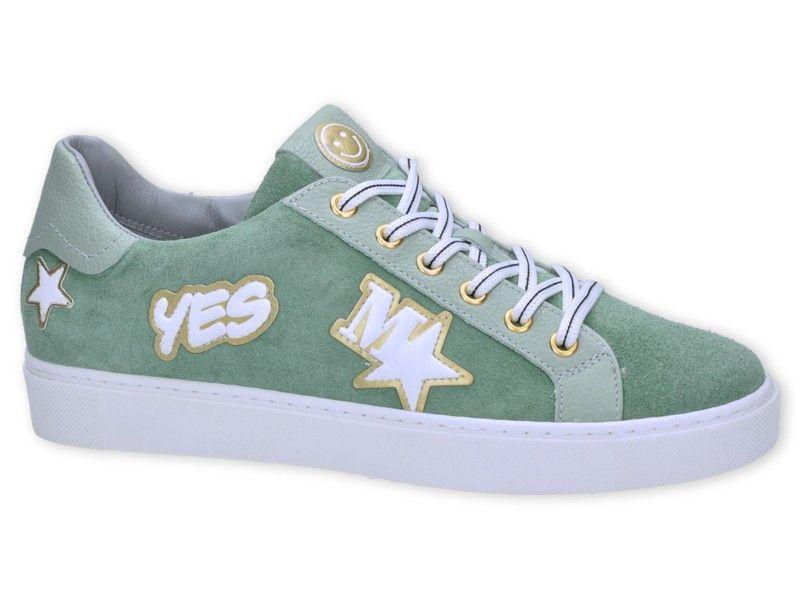 390df12f5e1 Groene sneakers met patches van het merk Maripe, model 24616. De trend van  het moment! €149,95 #maripe #patches #trend #ontrend #sneakers #shoes # schoenen