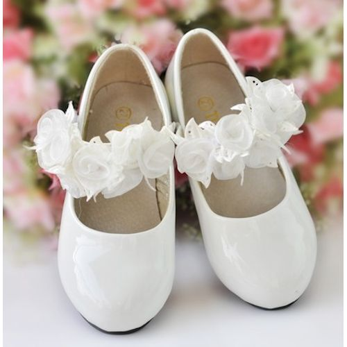 6ee3ae76c9b1a Ivory White Patent Leather Flower Girls Kids First Communion Party ...