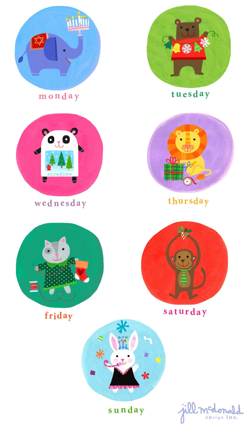 Christmas Day of the Week Art by Jill McDonald Design | Cute ...