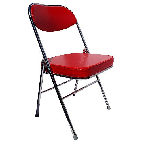 Yi Hai Folding Office Chair High Quality Thick Padded Metal Red Set Of