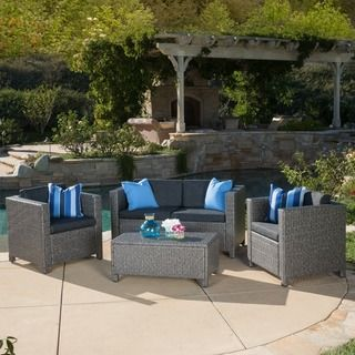 Christopher Knight Home Outdoor Puerta Grey Wicker Sofa Set With Cushions