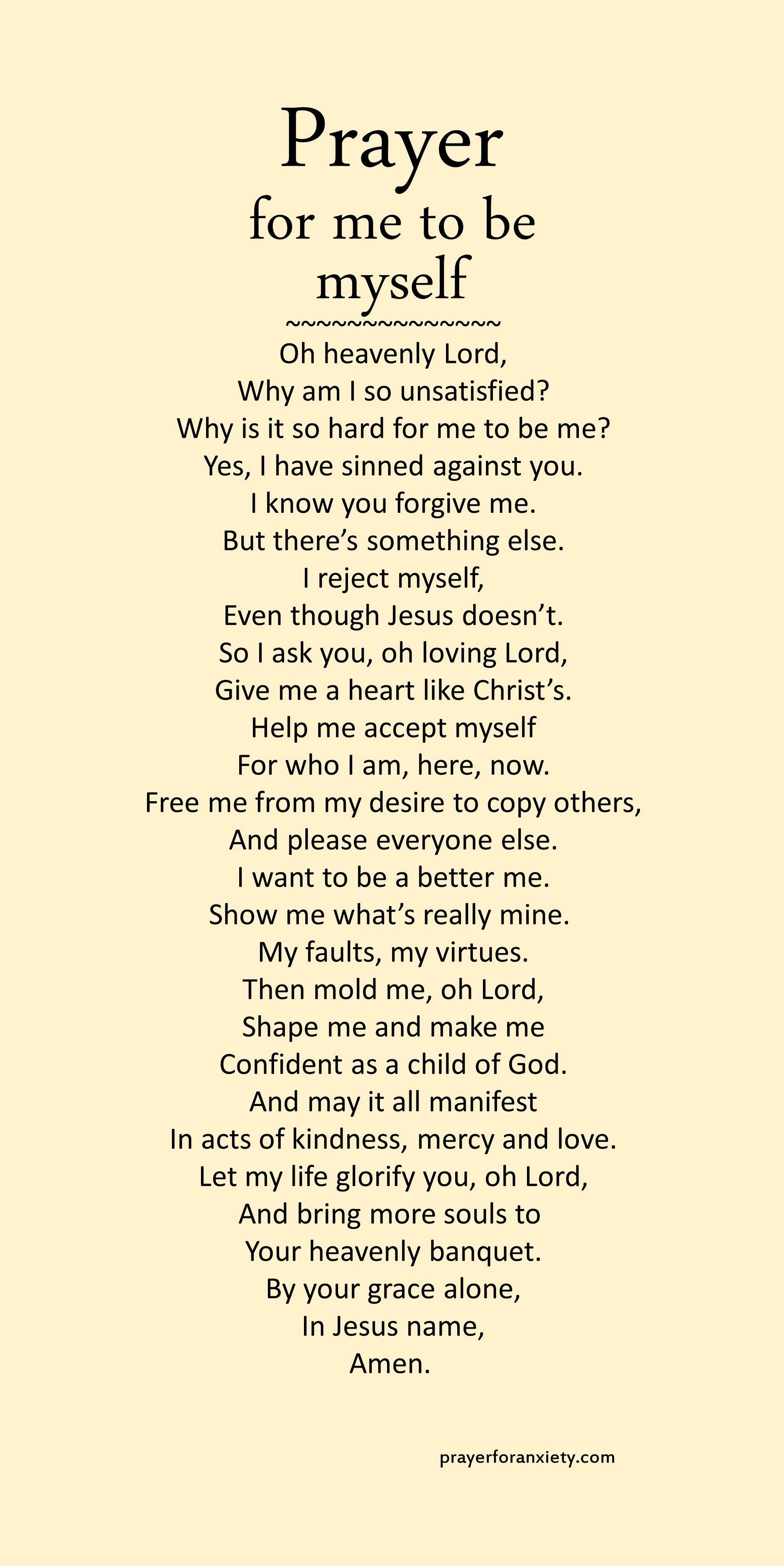 Prayer for me to be myself