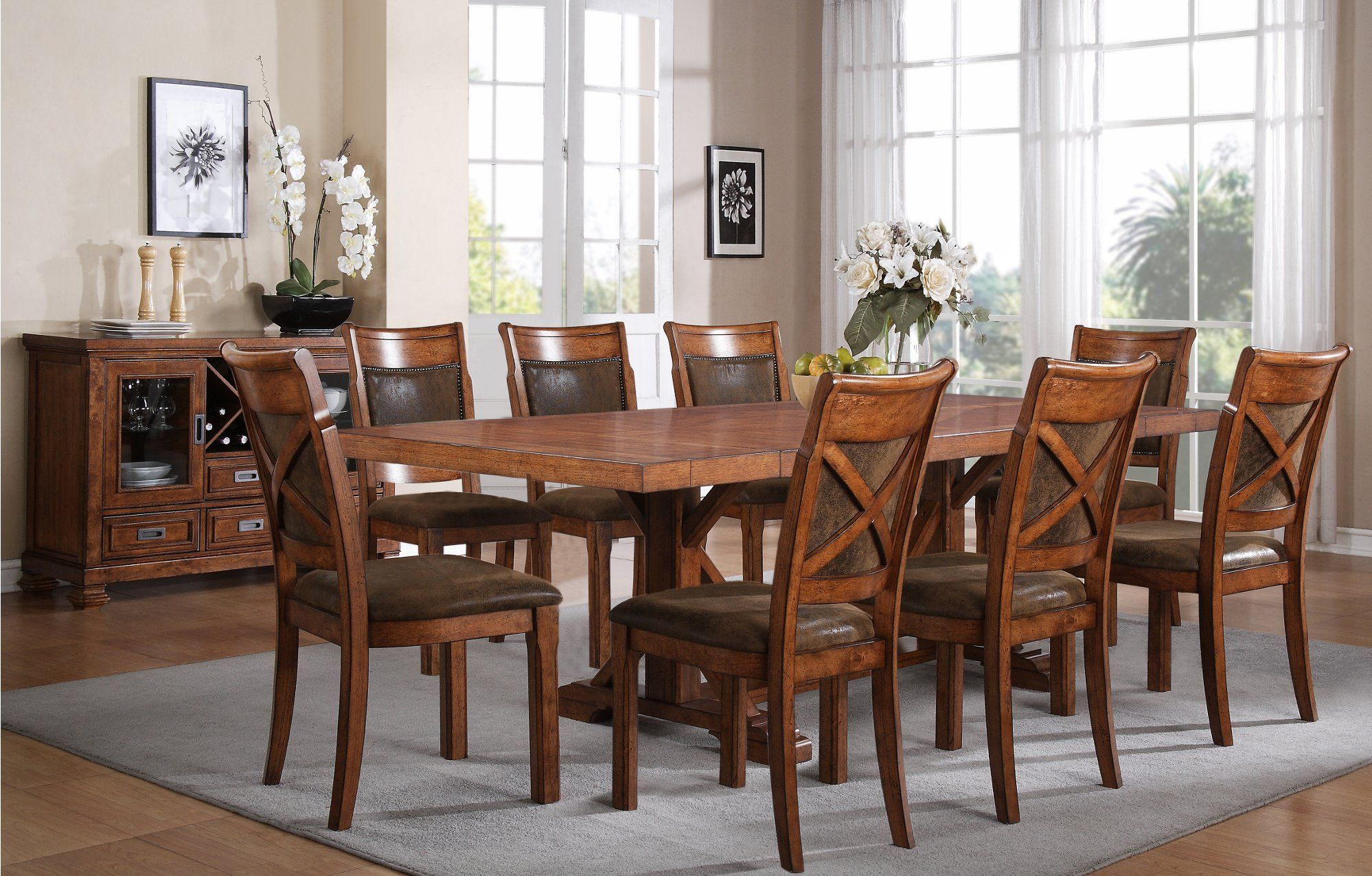 Brown 5 Piece Dining Set Caramel In 2020 With Images Brown