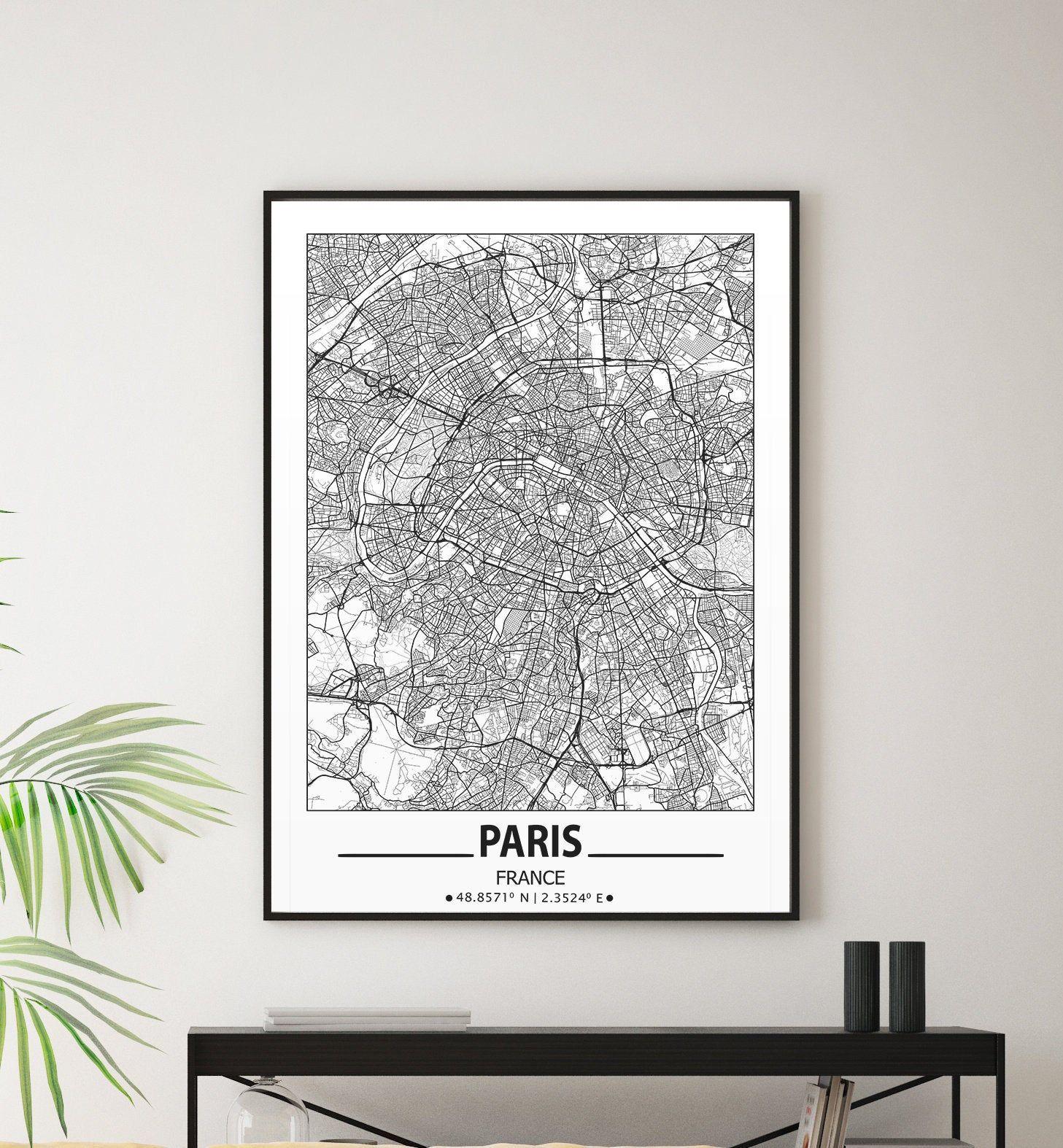 Paris City Map Print Paris Wall Art Prints Travel Maps Wall Etsy Map Wall Art Paris Wall Art Poster Wall Art