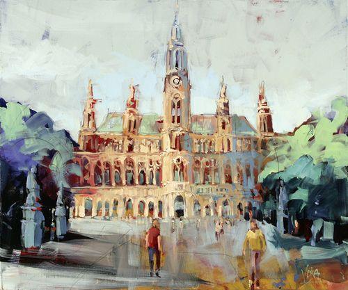 VIENNA Town House, 100X120cm / 47,2X39,4 inch, Acrylic on