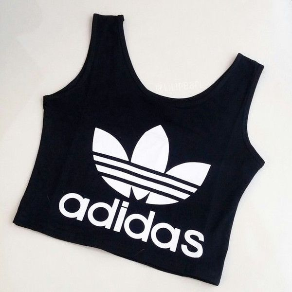 b01240de Cute Classic Womens Girls Adidas Crop Top Sports Bra Uk Size 4 6 8... ($24)  ❤ liked on Polyvore featuring black, crop tops, tops and women's clothing