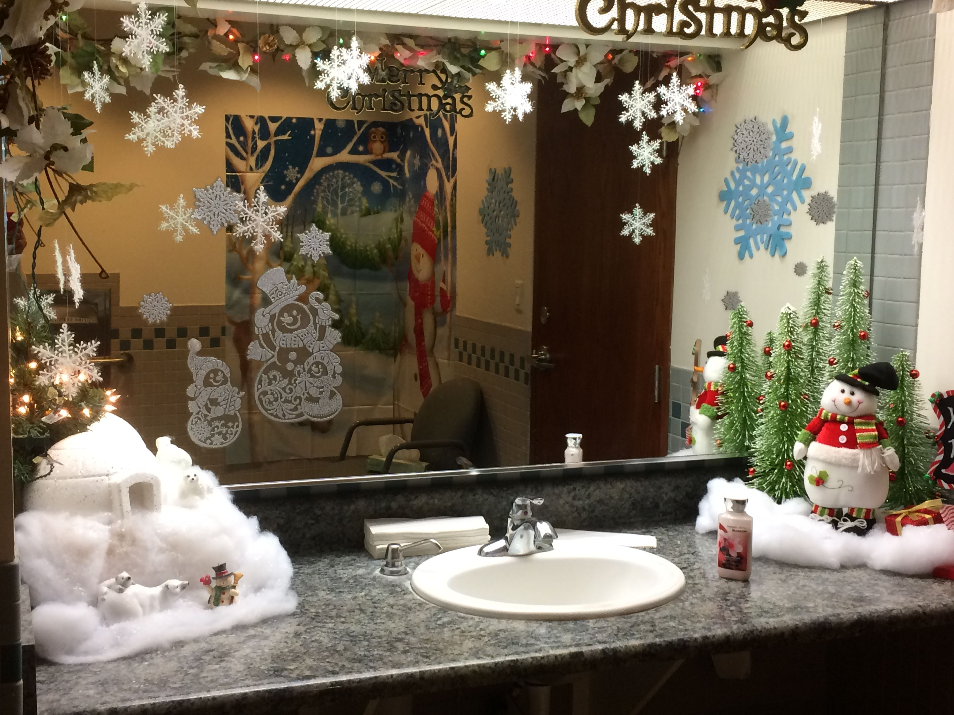 christmas office theme. This Year Went With A Winter Wonderland Theme When Decorating Our Office\u0027s Ladies Room. Christmas Office T
