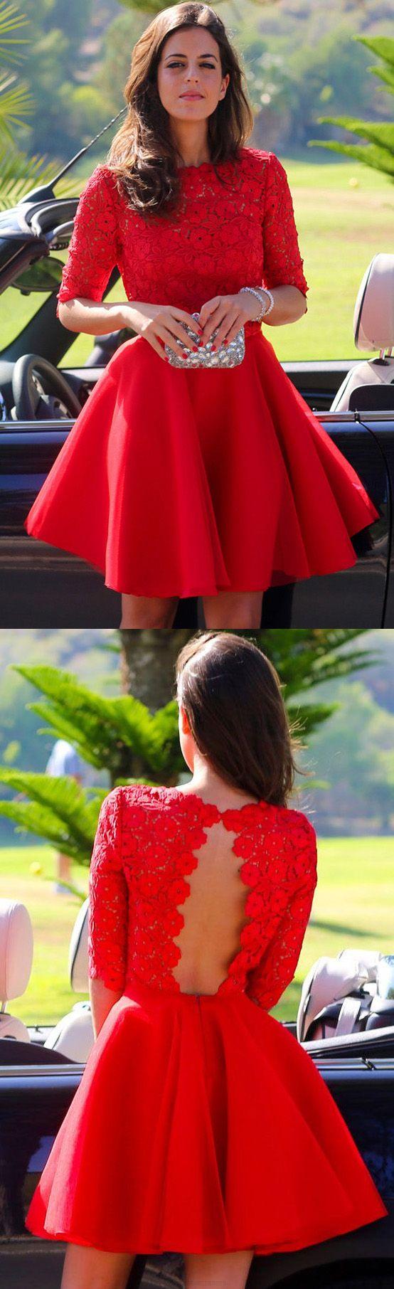 Short sleeve homecoming dresses red short sleeve prom dresses