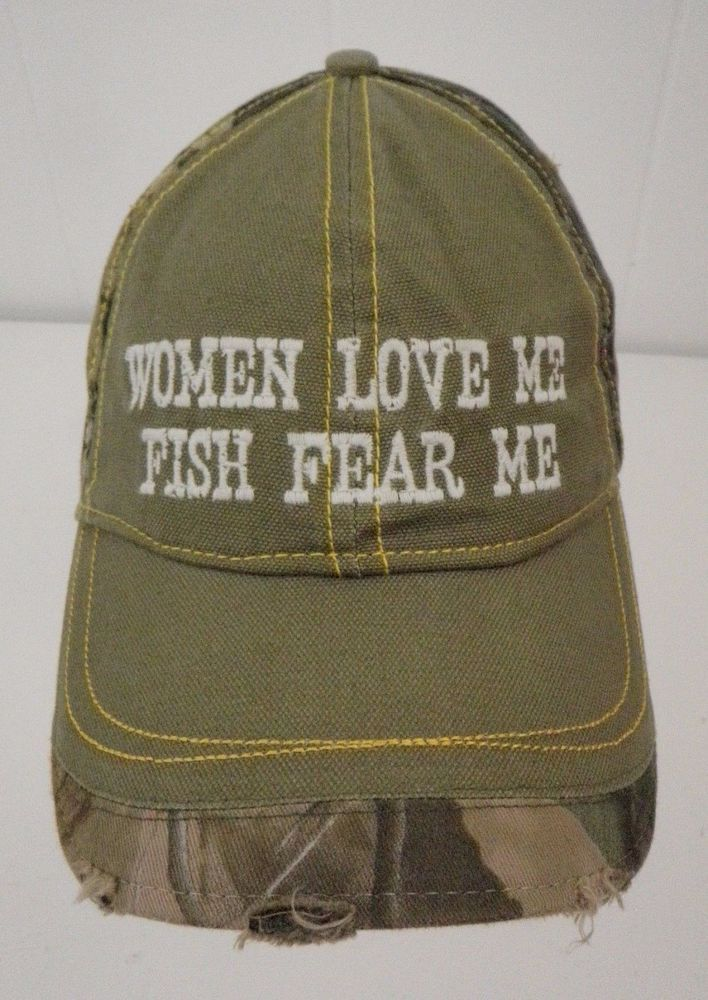 45ab30d0 Women Love Me Fish Fear Me Realtree Hardwoods Camo Hat Ball Cap Distressed  #HYP #BaseballCap #realtree #hardwoods #camo #camouflage #distressed #hat