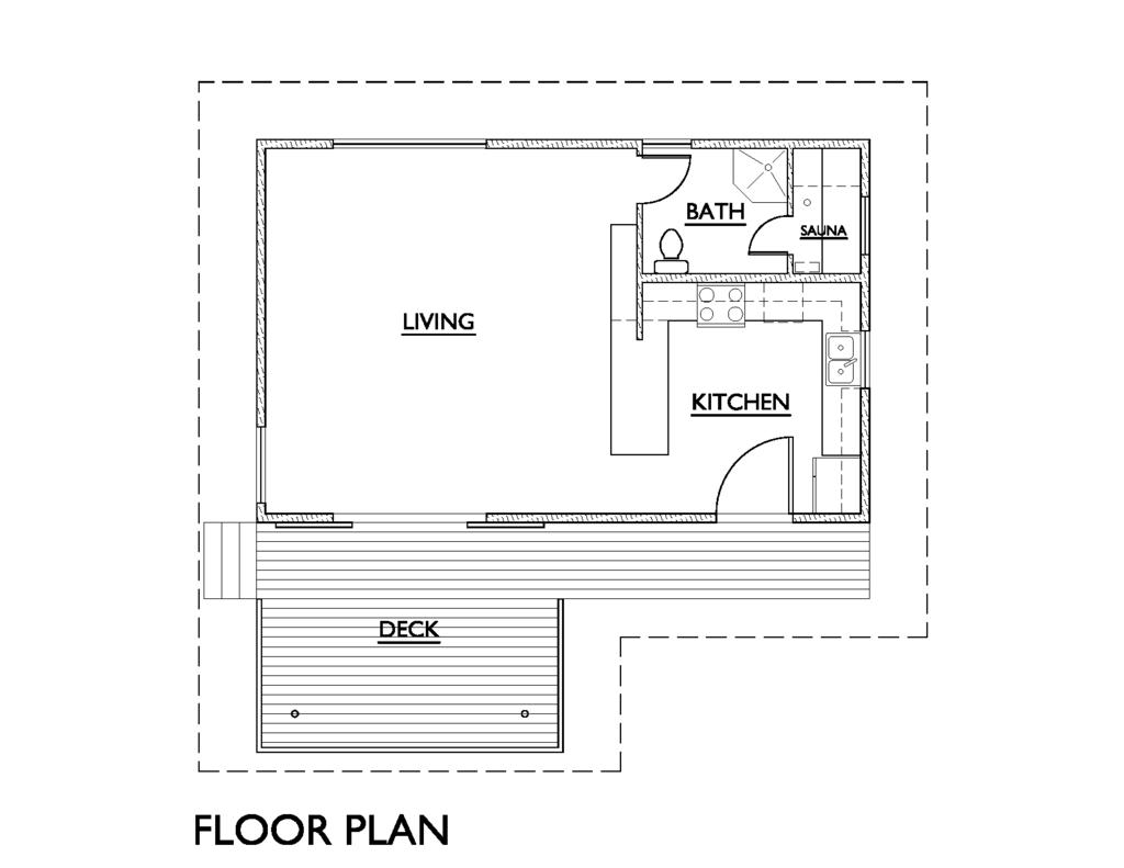 Modern 1 Beds 1 Baths 640 Sq/Ft Plan #890-4 Main Floor