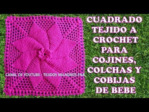 Cuadrado tejido a crochet para cojines colchas y cobijas - Cojines para bebes ...