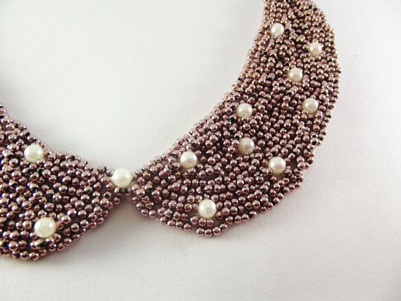 Peter Pan Collar Mink  Color  and Ivory Pearls by medusa12 on Etsy, $25.00