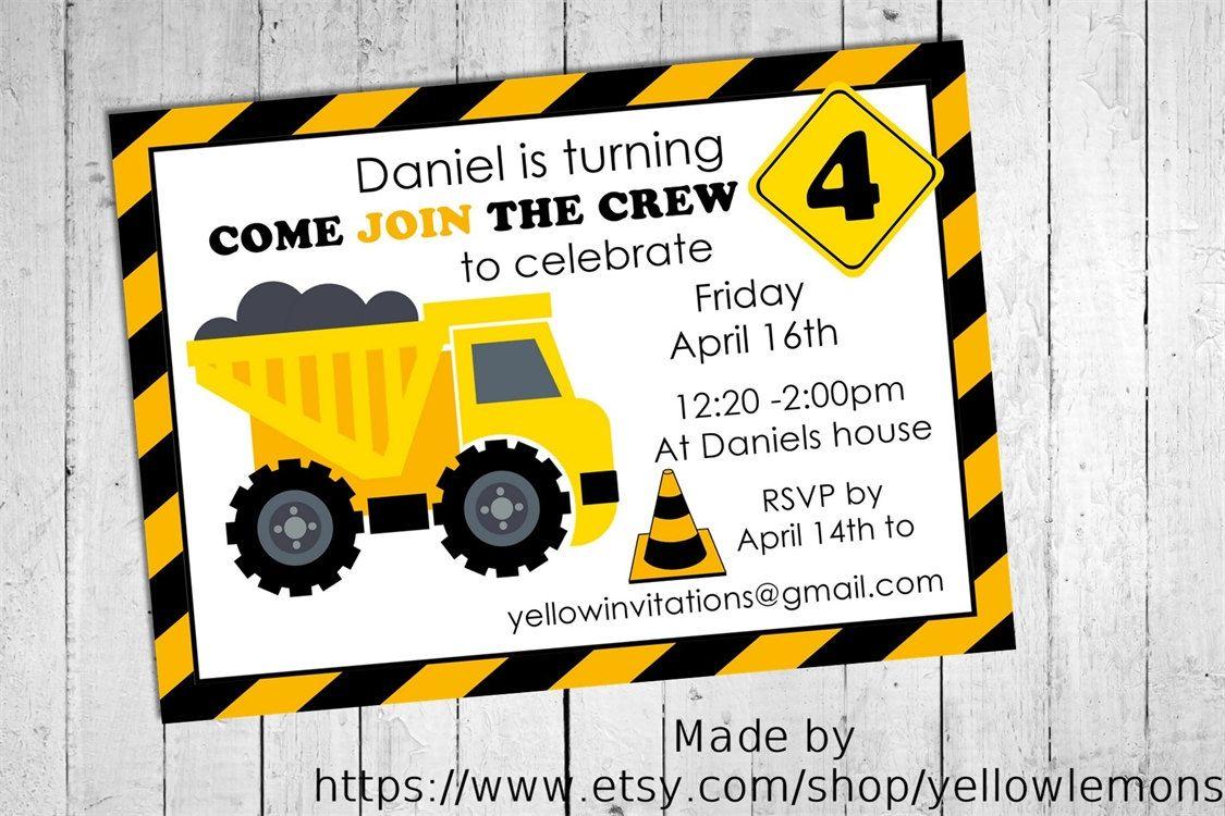 Construction crew birthday invitation digital file only truck construction crew birthday invitation digital file only truck yellow black building stopboris Image collections