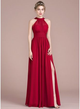 cbf415c27 Vestidos princesa/ Formato A Decote redondo Longos Tecido de seda Vestido  de madrinha com Pregueado Curvado Frente aberta