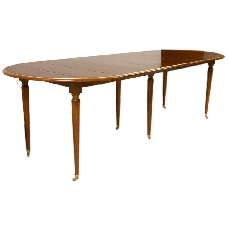 Directoire Style Mahogany Dining Table with Brass Trim, Six Legs ...
