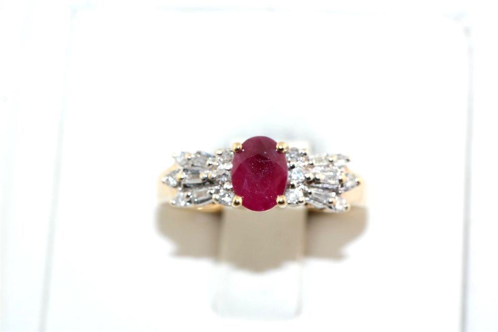 Ruby Diamond 10k Yellow Gold Ring Diamond Rings For Sale Ruby Diamond Rings Ruby Diamond