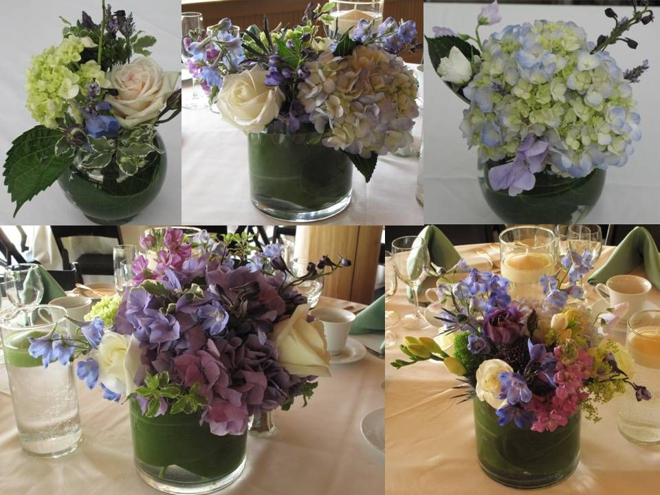 recycled centerpieces | Lavender Hydrangea Centerpieces