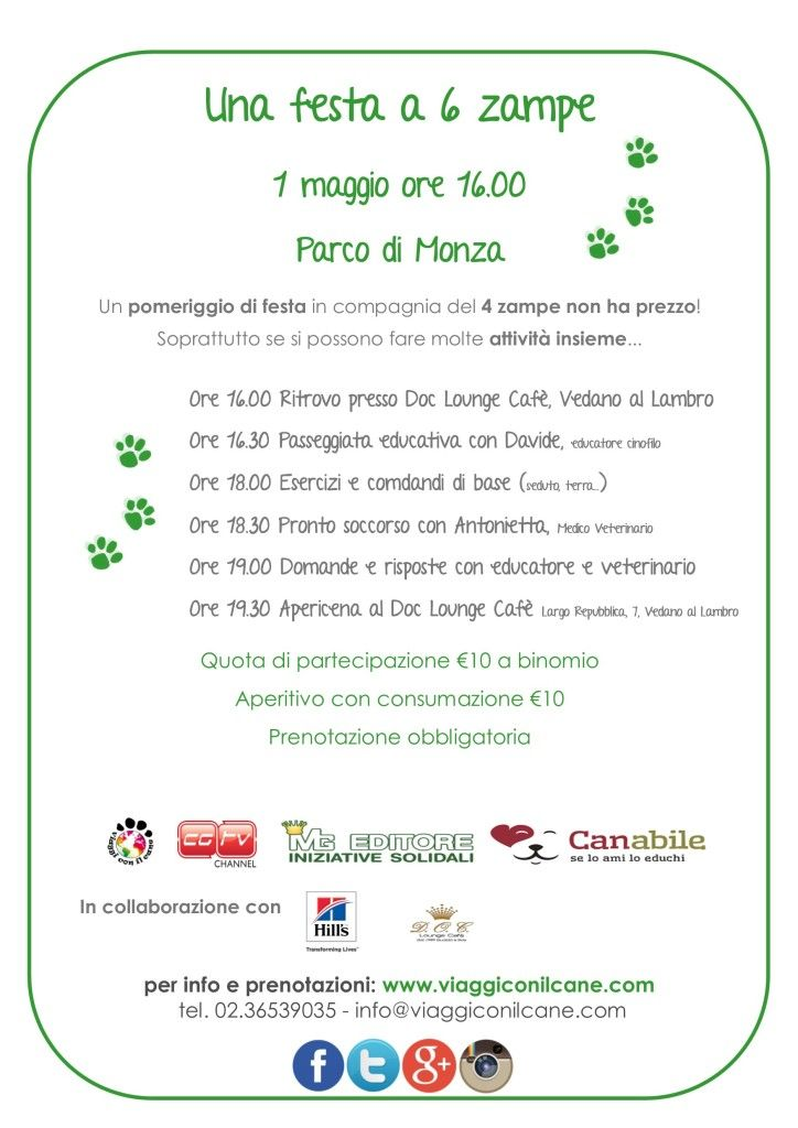 Primo maggio di festa, sì ma a 6 zampe. A Monza pomeriggio evento :http://www.qualazampa.news/event/primo-maggio-di-festa-si-ma-a-6-zampe-a-monza-pomeriggio-evento/