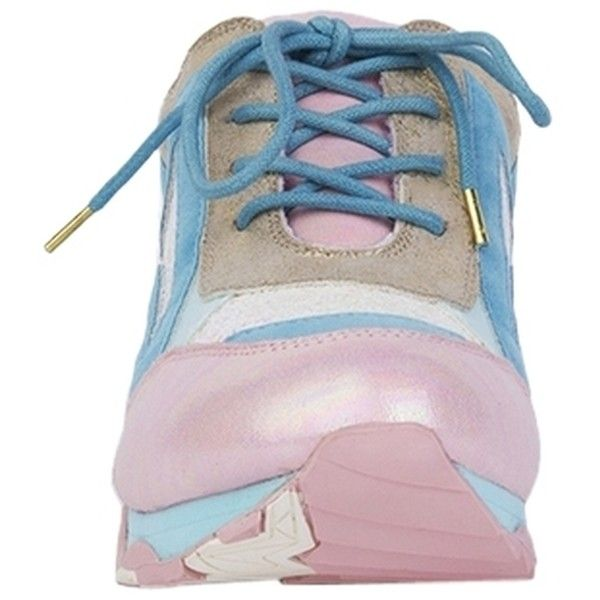 Pre-owned Irregular Choice Big Bolt Sneakers Pink/blue Platforms ($166) ❤ liked on Polyvore featuring shoes, sneakers, platform shoes, platform sneakers, suede sneakers, blue sneakers and pink shoes