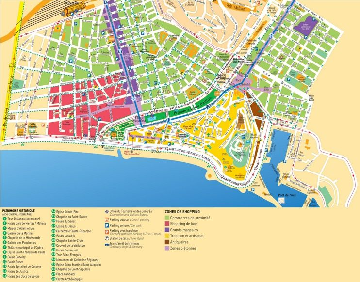 Nice shopping and tourist attractions map Maps Pinterest