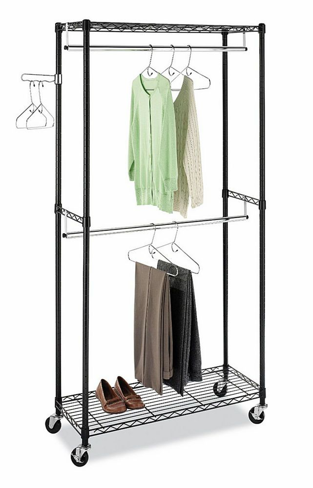 NEW Double Hanging Garment Rack Wheeled Clothes Storage Closet Organizer  Black