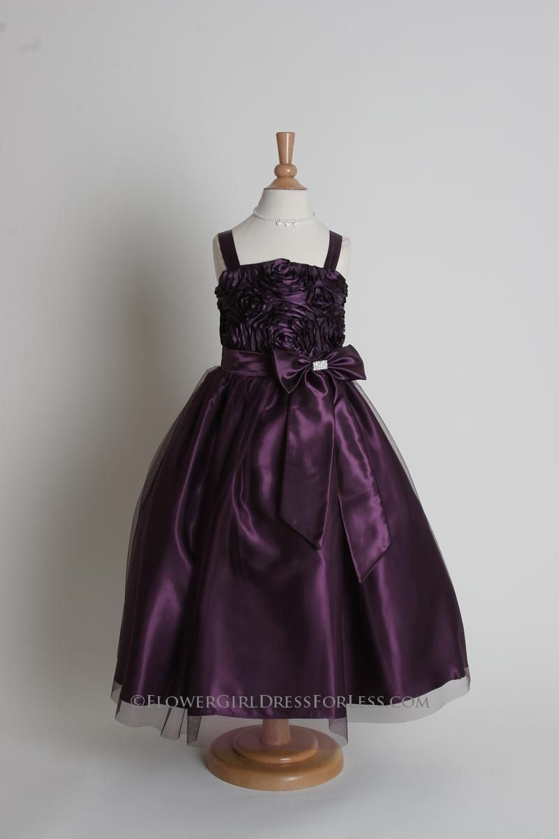 IVORY//PLUM PURPLE SPAGHETTI STRAPS WEDDING FLOWER GIRL DRESS 12M 2 3//4 6 8 10 12