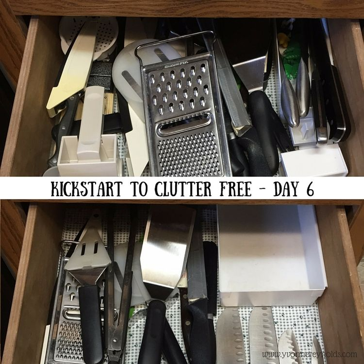 Kickstart to Clutter Free Day 6 - cleaning out the kitchen drawers today with Kathi Lipp's eCourse