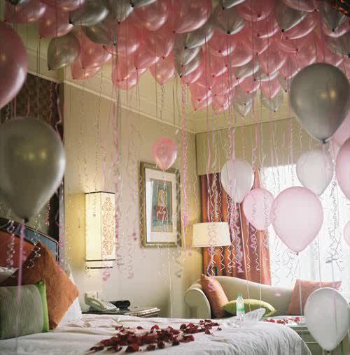 Cute Birthday Decoration In Bedroom Birthday Balloon Surprise Birthday Surprise Romantic Birthday Gifts
