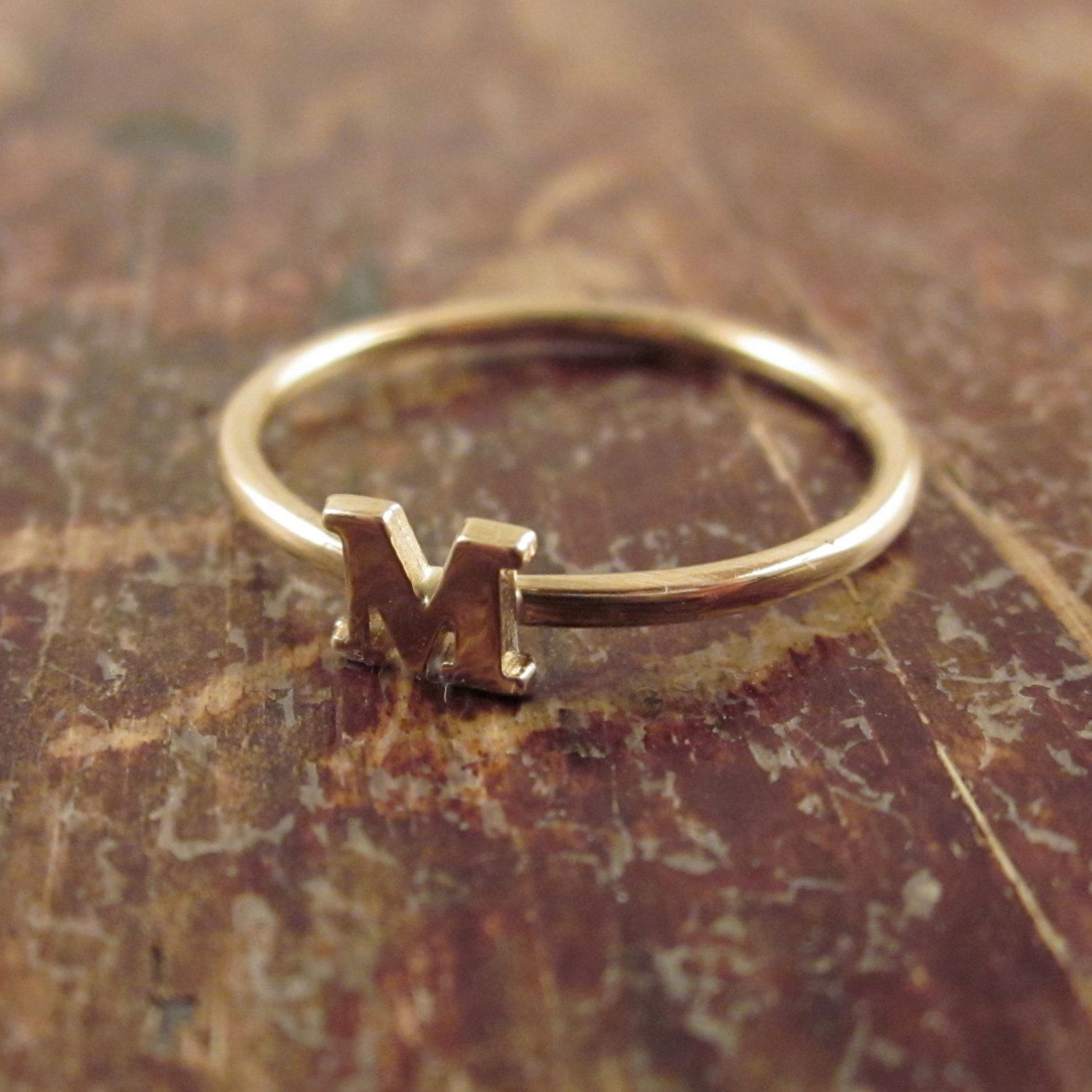 14K Gold Initial Ring Personalized Jewelry Gift for Women Womens ...