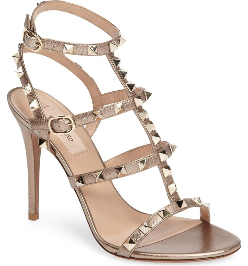 VALENTINO Rockstud leather trimmed snake sandals Neutral Woman