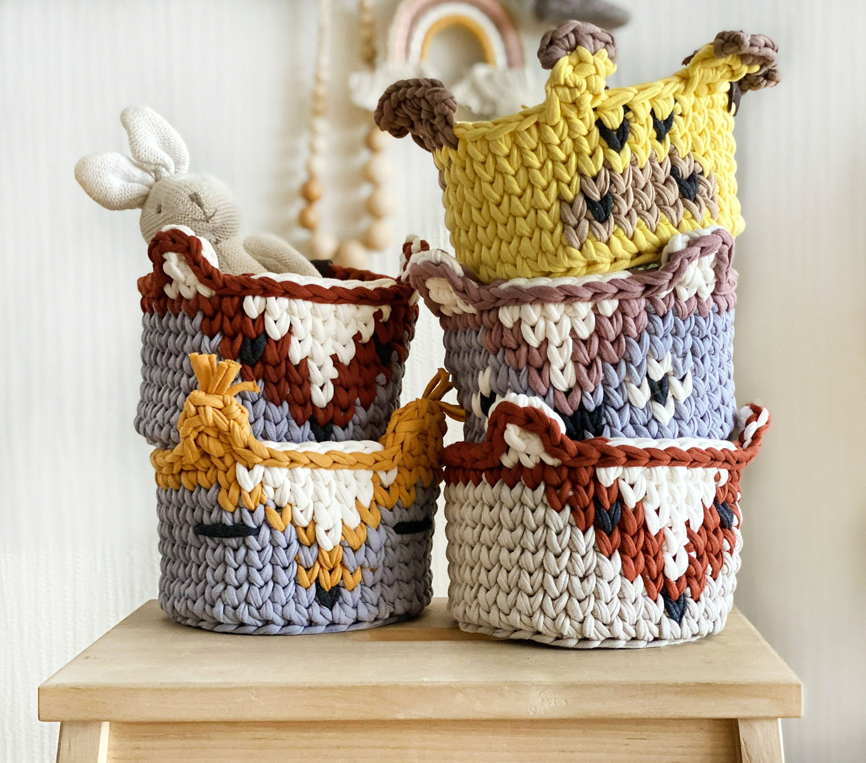 Animal Storage Basket To Kidsroom Round Crochet Basket Toy Basket Toy Boxes Toy Box Nursery Basket Animal Nursery Decor V 2020 G