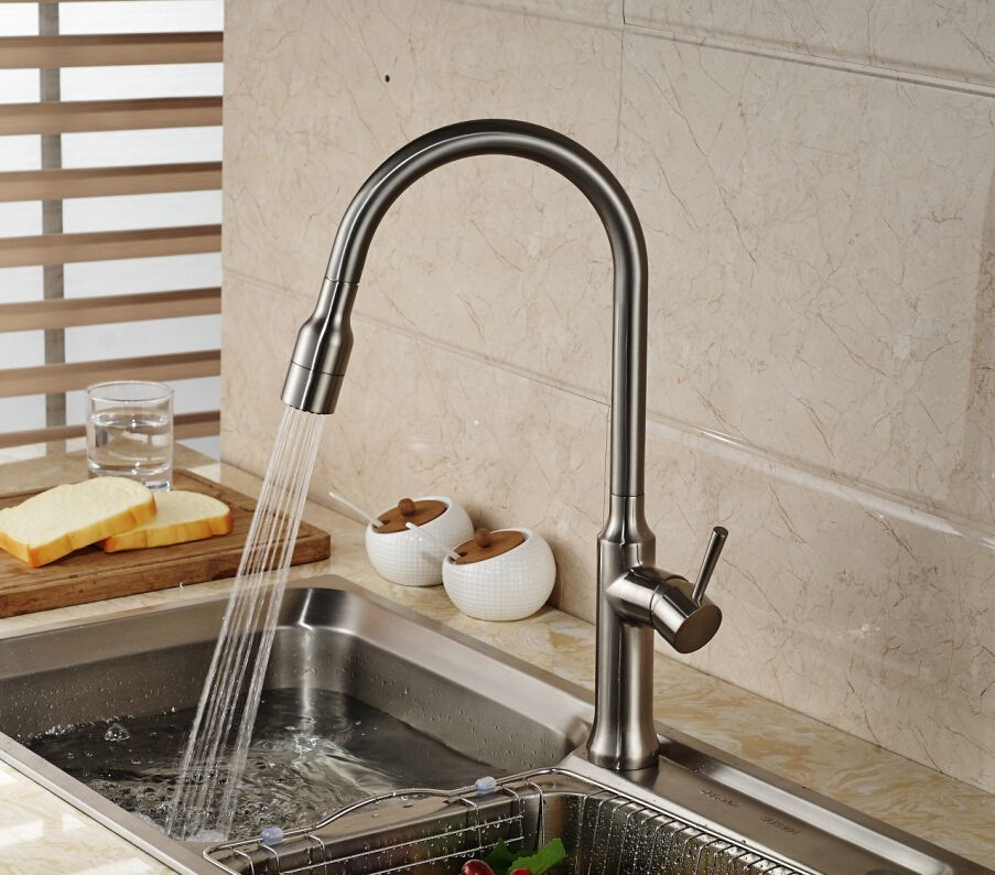 Reviews Luxury Brushed Nickel Kitchen Faucet Tall Vessel Sink Gorgeous Brushed Nickel Kitchen Faucet Design Decoration