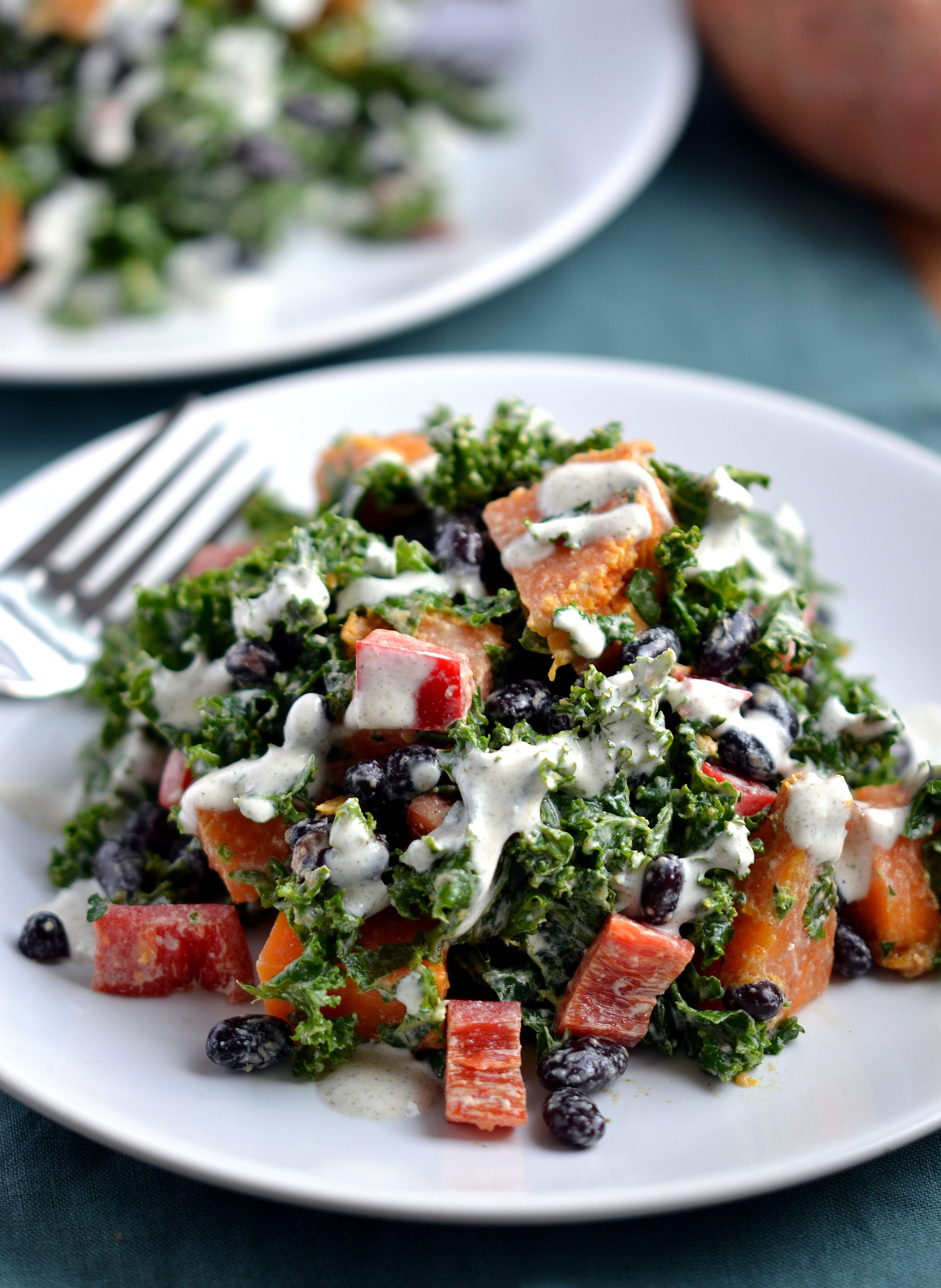 Creamy Kale Salad With Sweet Potato Black Beans Recipe Tester For Ricki Heller S Upcoming Cookbook Salad With Sweet Potato Black Bean Recipes Kale Salad